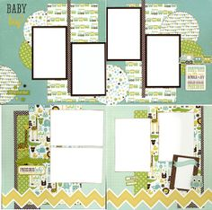 4 page double coordinated 12x12 scrapbook layout kit. Titled: Baby Boy on Etsy, $25.00