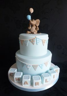 Elephant and Bunting Christenning Cake More