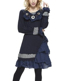 Love this Simply Couture Navy Asymmetrical Ruffle Peasant Dress by Simply Couture on #zulily! #zulilyfinds