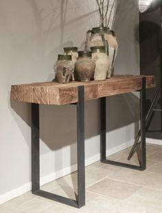 Vintage Industrial Furniture, Rustic Furniture, Diy Furniture, Furniture Design, Flur Design, Esstisch Design, French Kitchen Decor, Steel Furniture, Rustic Table