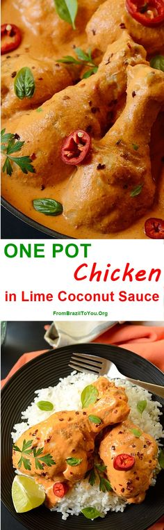 ONE POT Chicken in Lime Coconut Sauce -- easily made with simple ingredients... it is the perfect weeknight meal!