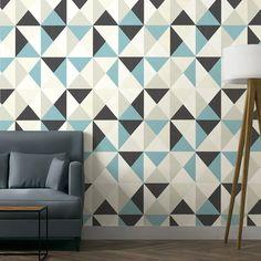 Papier peint vinyle expans sur intiss polygone multicouleur larg m - Papier peint vintage ...