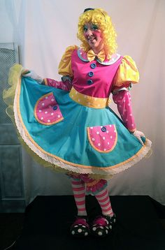 Pricilla Mooseburger Originals has been making professional clown costumes and clown supplies since Girl clown dress outfit in pink, turquoise, and yellow. Clown Dress, Costume Dress, Adult Costumes, Clown Costumes, Clown Clothes, Female Clown, Cute Clown, Send In The Clowns, Clowning Around