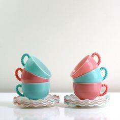 Hazel Atlas Ruffle Teacup Set
