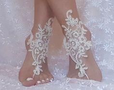 free ship bridal anklet ivory lace anklet Beach by GlovesByJana