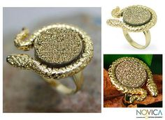 Fair Trade Gold Plated Drusy Cocktail Ring - Golden Amazon Serpent | NOVICA #FairTuesday gifts for friends, fashionistas