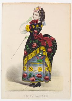 <p>Woman facing left looking forward. Proper left hand in green glove raised to chin; proper right hand in green glove holding walking stick. Large red bow above bustle on dress.</p>