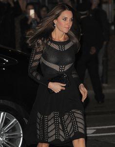 Duchess Kate in black crocheted Temperley