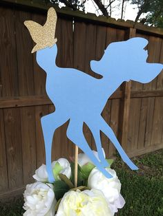 2 Bambi Deer Fawn Silhouette With Glitter Butterfly Accent Centerpiece Toppers