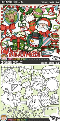 Decorative Christmas Clip Art for teachers by Kate Hadfield Designs | Teachers Pay Teachers. Supplied in both hand-painted coloured versions and black and white outlines! #katehadfielddesigns