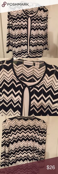 Chevron Alfred Dunner top SZ XL Chevron Alfred Dunner SZ XL white shell with attached top. Alfred Dunner Sweaters Cardigans