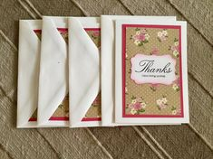"A set of four Thank You cards, handmade, white with a dark mauve mat and a tan floral background with the saying ""Thanks, i love being spoiled"".    Cards are 5"" X 3 3/4"" .    They come in a plastic envelope to protect and store them.    Anita and Monique would like to thank you for visit today! Please come back again soon. We post new items frequently. 