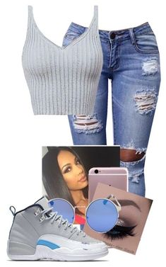 A fashion look from June 2016 featuring gray shirt, ripped jeans and fake glasses. Browse and shop related looks. Cute Swag Outfits, Hot Outfits, Trendy Outfits, Girl Outfits, Summer Outfits, Teen Fashion Outfits, Outfits For Teens, School Outfits, Jordan Outfits