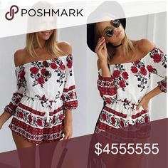 🆕 Arrival • The ELYSE Floral Off Shoulder Romper Gorgeous floral romper. Material: chiffon blend. Have a tassel drawstring. Disclaimer: Placement of print may vary since the romper is not made with the same piece of fabric. •• Small, medium, large are available •• Ready to ship •• Dresses