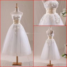 Wholesale A-Line Wedding Dresses - Buy New Arrival 2014 Tea Length Wedding Dresses White Strapless A Line Pearls Lace Short Bridal Gowns Real Photo Lovely Outdoor Wedding Dress, $119.32 | DHgate