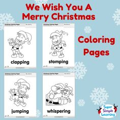 "Practice action verbs with ""We Wish You A Merry Christmas""  coloring pages from the Super Simple Learning Resource Center. #kidart #kindergarten #ESL"