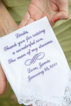 For the Mother of the groom..very thoughtful gift..