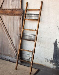 Ladder with bins for storage
