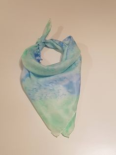 Silk Scarf light blue/ green - Handpainted - 55 x 55 cm by Silkmagie on Etsy Light Blue Green, Green Silk, Silk Scarves, Fashion Accessories, My Etsy Shop, Hand Painted, Trending Outfits, Unique Jewelry, Vintage