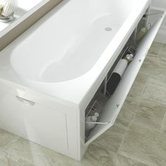 Cooke & Lewis Gloss White Bath Front Panel - B&Q for all your home and garden supplies and advice on all the latest DIY trends Bath Panel Storage, Bathtub Storage, Bathtub Cover, Bath Front Panel, Bathtub Surround, Bathroom Paneling, Corner Bath, Bathroom Collections, Grand Designs