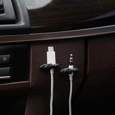 8Pc Black Office Home Car Charger Line Headphone//USB Cable Holder Clip Accessory