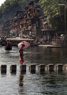 River crossing, Fenghuang (Phoenix) Ancient Town, China.