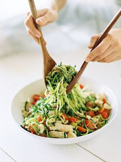 """Have you guys experimented with zucchini noodles yet? If not, I highly recommend investing in a spiralizer to make the most delicious, guilt-free """"pasta"""" dishes — and as the video ...read more Zucchini Noodle Recipes, Zucchini Noodles, Pasta Recipes Video, Chicken Recipes, Vegetarian Recipes, Cooking Recipes, Healthy Recipes, Pesto Dishes, Fruit Dishes"""