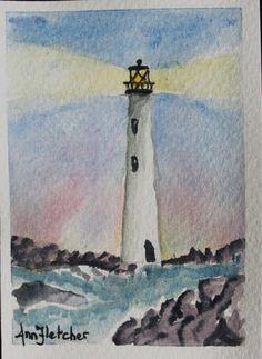 "Lighthouse - 2.5 x 3.5"" watercolour"
