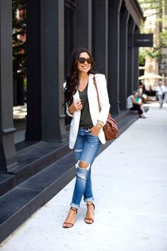 Dress up a casual outfit with a blazer: http://www.stylemepretty.com/living/2016/09/16/stylish-outfits-to-wear-on-casual-friday/