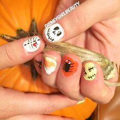 Boo! Getting into the Halloween spirit yet anyone?!  check out this fun nail art I did on my friend ❤️ (yes I made my friend hand-model on a pumpkin after I did these fun nails ) #disneygirlbeauty #halloween2015