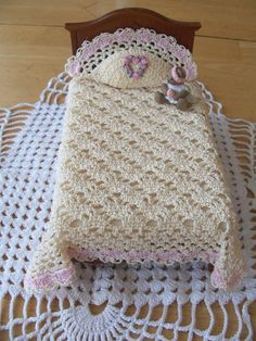 Miniature Crochet Dollhouse Bedspread With Pillow Valentine's Lace