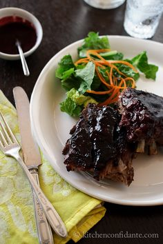 Sticky Blackberry Barbecued Pork Ribs   Kitchen Confidante   Plated Ribs