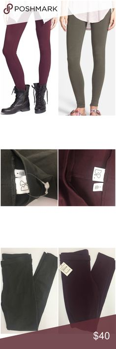 Bundle of Bp Olive Green and Burgundy Leggings S Olive: Size M but fits small like 0-3 I'm size 1 and they fit nice and tight. Color is olive green almost grey color. Brand new without tag  Maroon: Size S but runs small, fits more like XS or 00-1 I'm size 1 and they fit but a bit tight Brand new with tag Nordstrom Pants Leggings