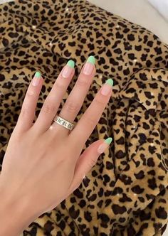 Simple Acrylic Nails, Summer Acrylic Nails, Best Acrylic Nails, Acrylic Nail Designs, Simple Nails, Acrylic Nails Green, Mint Green Nails, French Nail Designs, Summer Nails