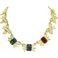 Designer Quality Crossed 'X' Bow Rhinestone Necklace – large Emerald Cut Stones