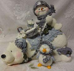 Vintage Christmas Figurine Snowman Snow Polar Bear Penguin Cute Home Large Decor