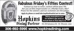 Are you an Elvis Impersonator, a Marilyn look alike or are you simply Fabulous? Then Hopkins Dining Lounge invites you to enter into their Fabulous Friday's Fifties Contest! Check it out! Elvis Impersonator, Look Alike, Check It Out, Invites, Lounge, How To Apply, Events, Dining, Airport Lounge