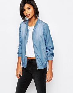 Shop Vila Light Wash Denim Bomber at ASOS. Blouson Denim, Jean Outfits, Casual Outfits, Denim Bomber Jacket, Bomber Jackets, Estilo Denim, Jeans Denim, Denim Shirts, Mode Jeans