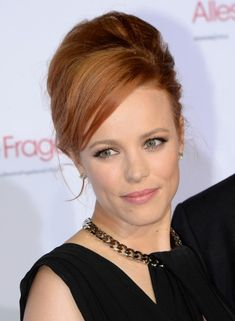 Rachel McAdams Long Hairstyles: 2014 Updo Hairstyle with Bangs