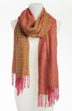 Pink and green patterned scarf