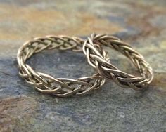 Solid 14K Gold Wedding Ring Set -  Gold Braided Ring, Matching Wedding Bands, Solid Gold Wedding Band Set Unique, His and Hers Wedding Rings on Etsy, $499.99