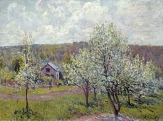 Alfred SISLEY (English French painter, 1839-1899): Spring in the Environs of Paris, Apple Blossom, 1879