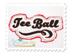 Tee Ball Distressed Applique for machine embroidery