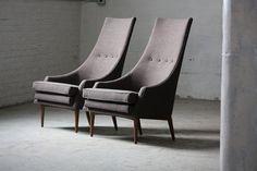 Mid Century Modern Tall Lounge Chairs (U.S.A., 1960s)