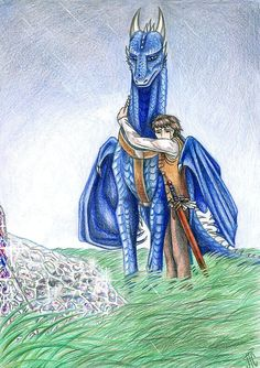 Eragon and Saphira the blue dragon Fantasy Dragon, Dragon Art, Fantasy Art, Blue Dragon, Dragon Knight, Dragon Rider, Eragon Fan Art, Eragon Saphira, Inheritance Cycle