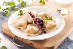 Pierogi z jagodami i waniliowym sosem Pierogi, Camembert Cheese, Breakfast, Ethnic Recipes, Food, Morning Coffee, Eten, Meals, Morning Breakfast