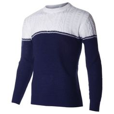 Men's Casual Pullover Color Block Crewneck Cable Knit Sweater (SW402) #FLATSEVEN  FLATSEVENSHOP.COM
