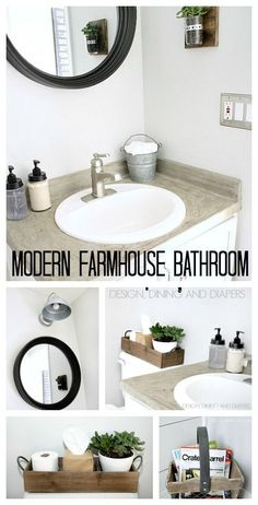 Modern Farmhouse Bathroom Makeover - the before and after are incredible. designdininganddiapers.com