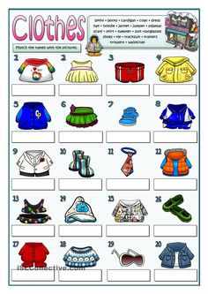 Vocabulary practice: Twenty different pieces of clothing. Students match the names of these clothes to the pictures. Vocabulary Clothes, Weather Vocabulary, Vocabulary Practice, English Class, English Lessons, Teaching English, Learn English, English Worksheets For Kids, English Activities