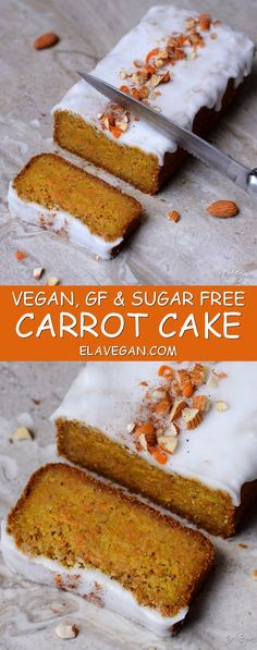 Vegan gluten free carrot cake with a refined sugar free frosting. A delicious and easy plantbased recipe